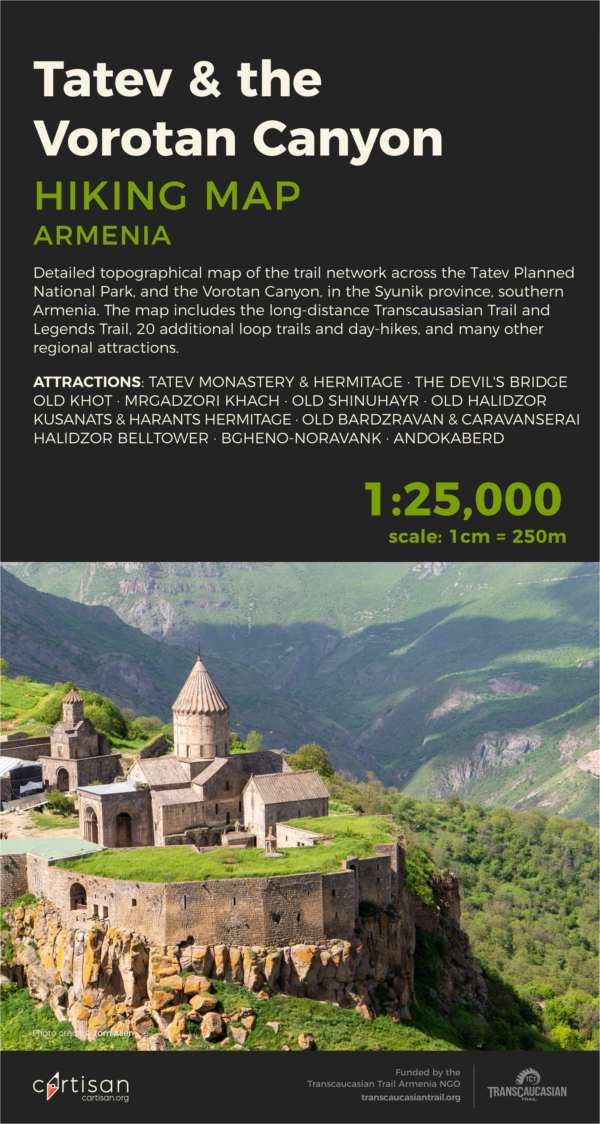 Tatev & the Vorotan Canyon Hiking Map front cover