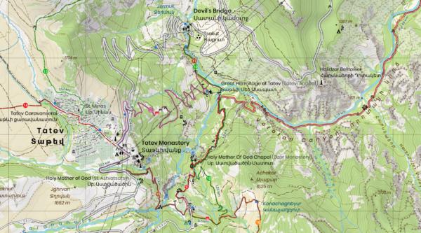 Tatev map enlargement at 25k